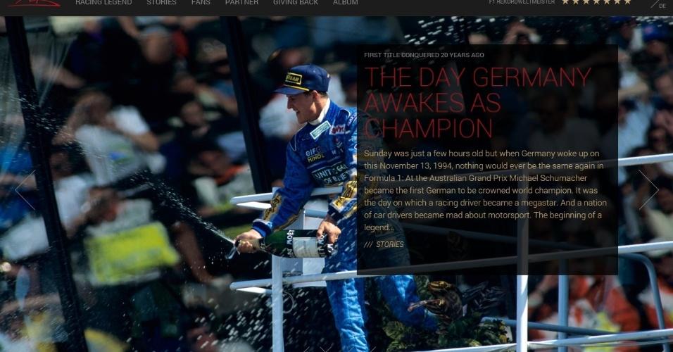 Site de Michael Schumacher foi atualizado para comemorar 20 anos de primeiro título mundial do alemão na F1