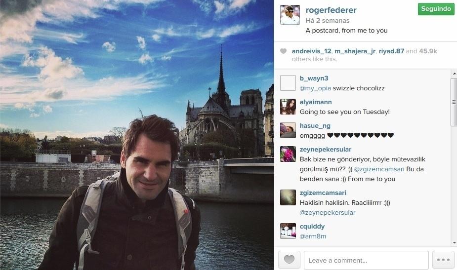 Roger Federer mostra lado fotógrafo no Instagram