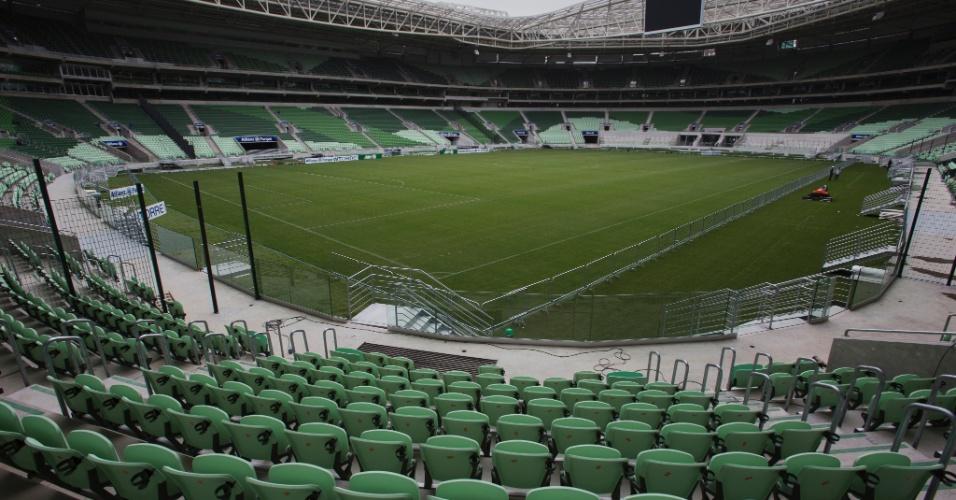 Como não poderia deixar de ser, o verde é a cor predominante no novo estádio do Palmeiras