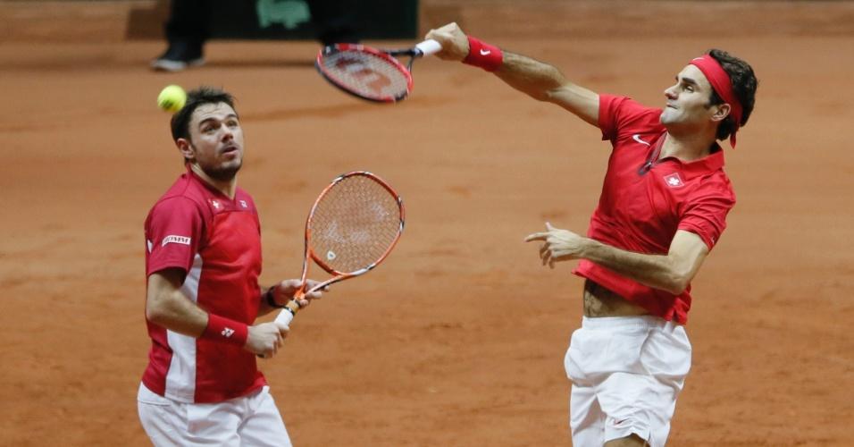 Federer e Wawrinka venceram o segundo set por 6 a 4