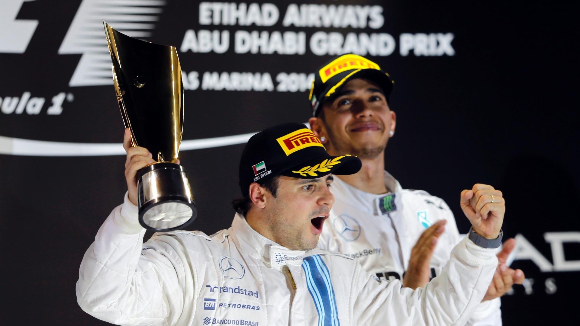 Felipe Massa comemora o segundo lugar, sua melhor posição em um GP desde 2012