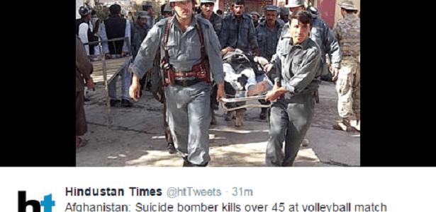 Jornal Hindustan Times reproduz imagem de vítimas do atentado no Afeganistão