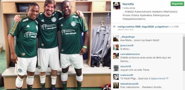 Flavio Saretta (ao centro) ao lado de Cléber e César Sampaio, ex-jogador do Palmeiras