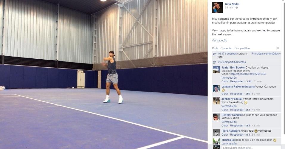 01. dez. 2014 - Rafael Nadal volta a treinar