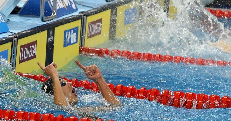 Cielo comemora a vitória da equipe brasileira no revezamento 4x50m medley