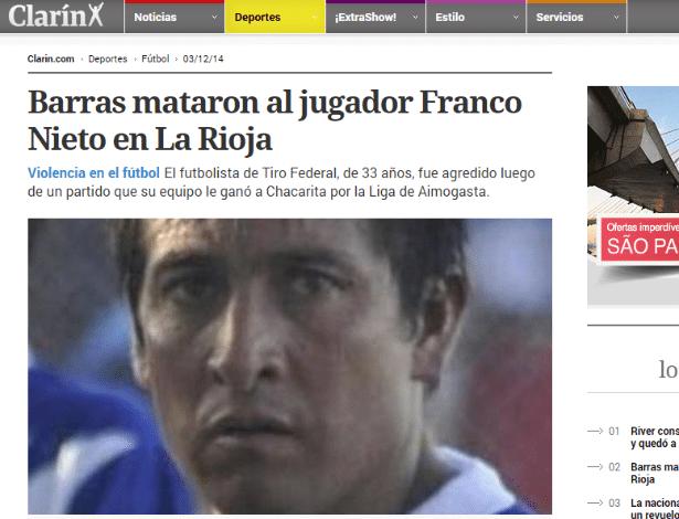 Jogador de futebol Franco Nieto foi morto após uma confusão na Argentina
