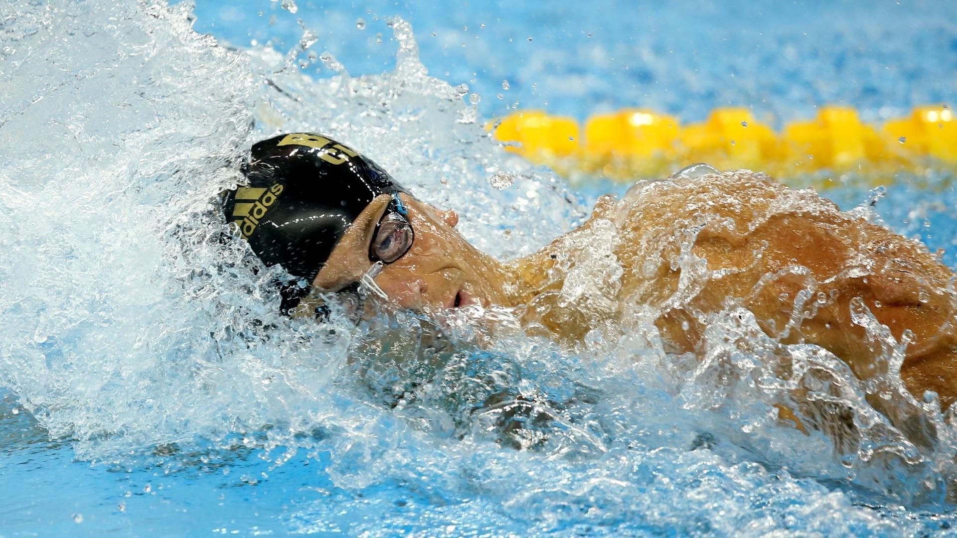 06. dez. 2014 - César Cielo nada as eliminatórias dos 100m livres do Mundial de Piscina Curta