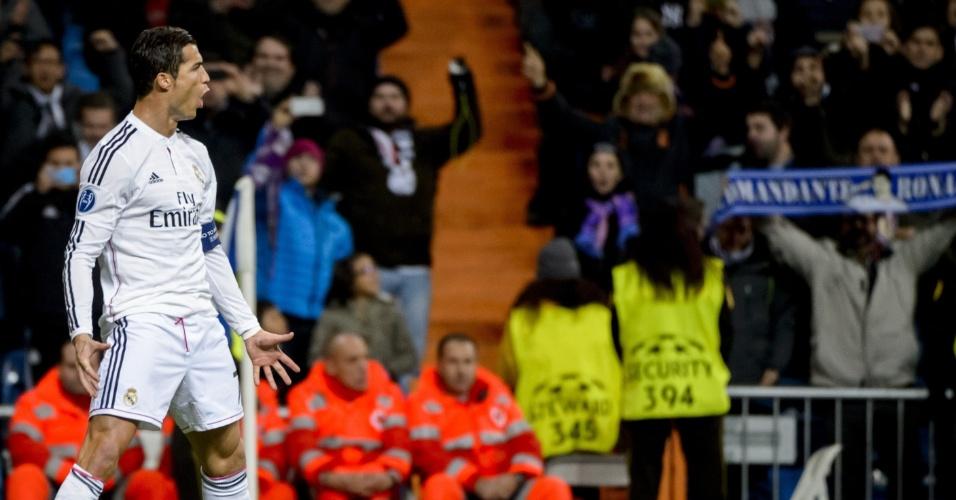 Ao seu estilo, Cristiano Ronaldo comemora seu 72º gol pela Liga dos Campeões da Europa