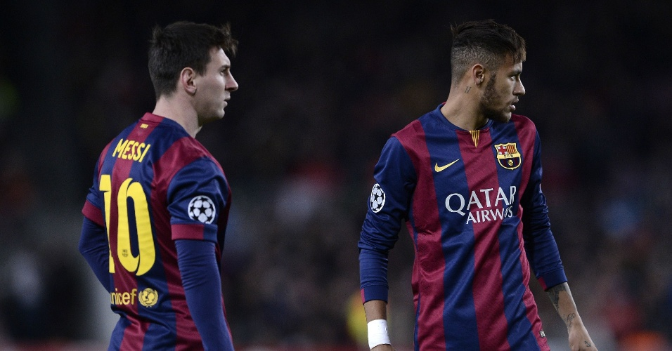 Messi e Neymar durante do jogo do Barcelona na Liga dos Campeões