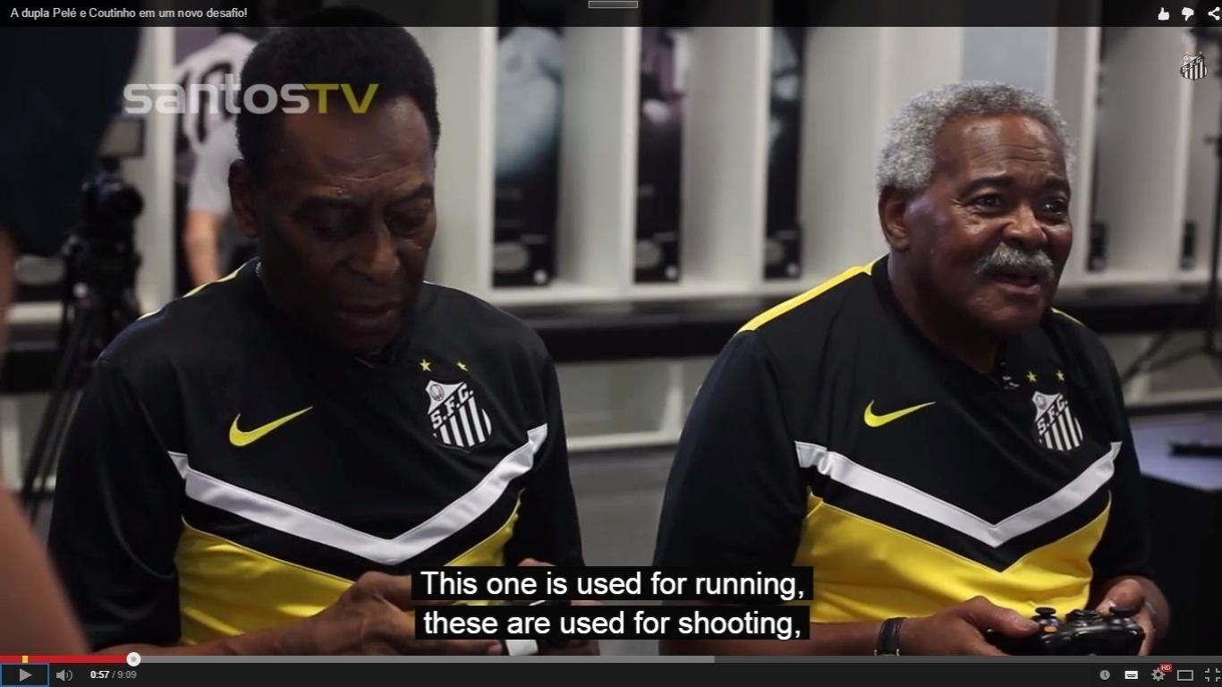 Pelé e Coutinho jogam Fifa em vídeo da TV Santos