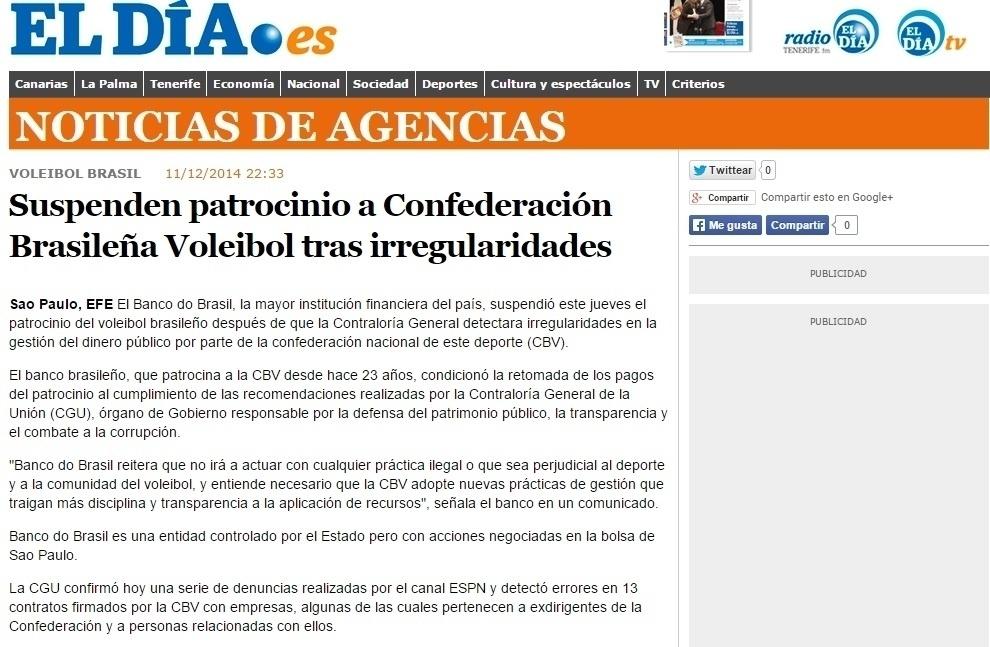 Site espanhol El Día dá destaque à suspensão do patrocínio após a constatação de irregularidades