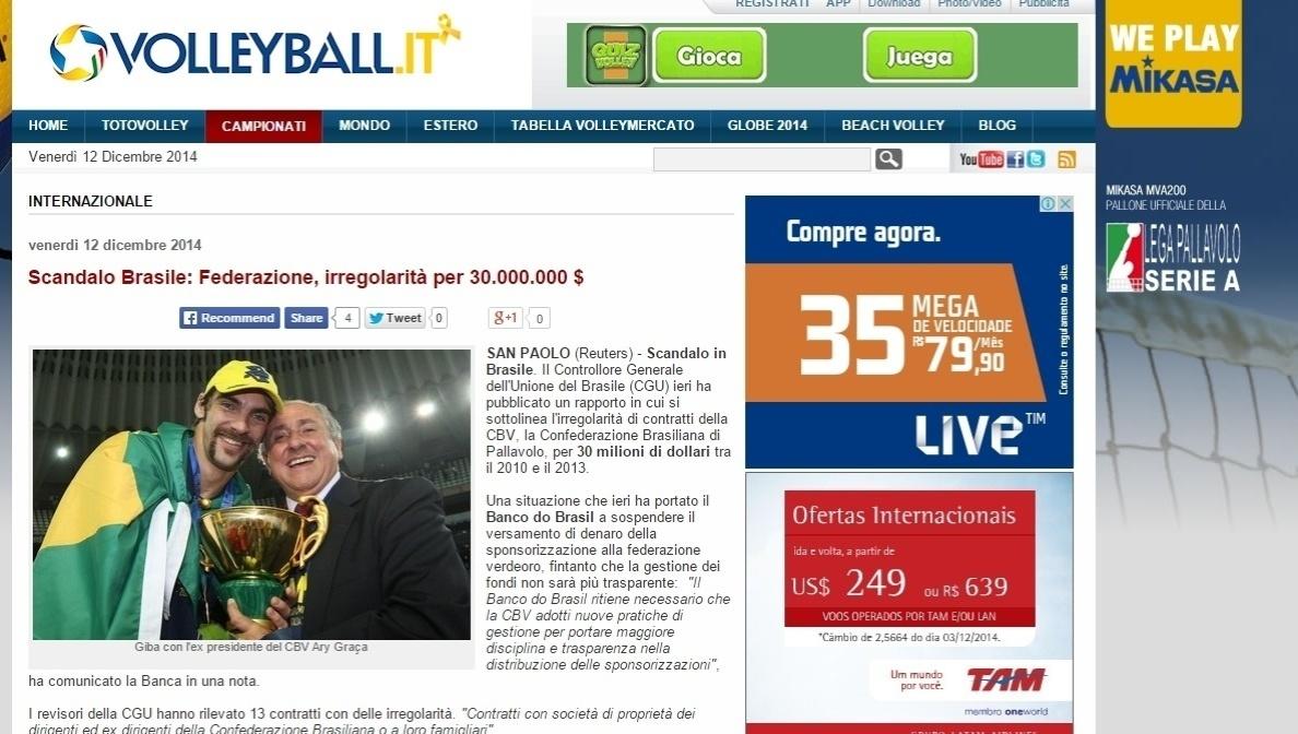 Site italiano especializado na modalidade voleyball.it fala em escândalo