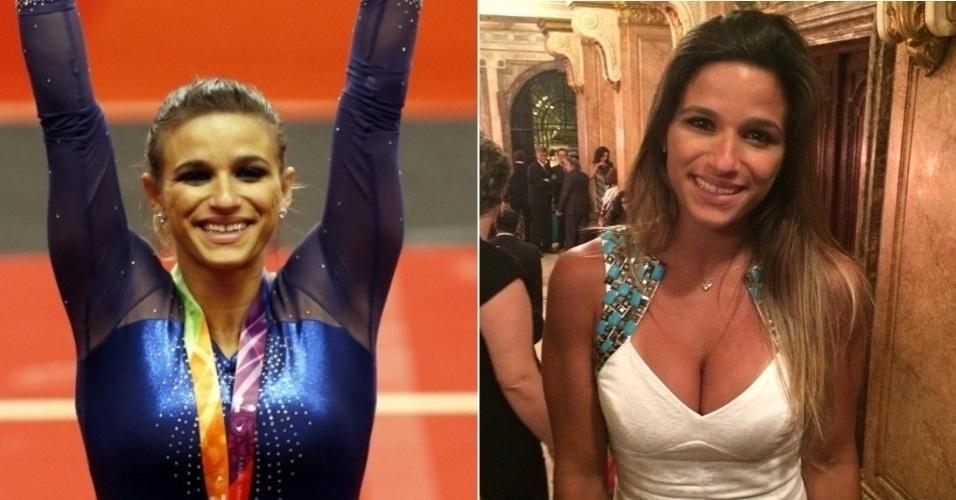 Jade Barbosa em competição, em março de 2014, e Jade durante o Prêmio Brasil Olímpico, em dezembro