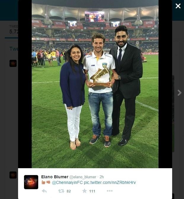 21.dez.2014 - Brasileiro Elano marcou oito gols em 11 jogos e foi artilheiro do Campeonato Indiano