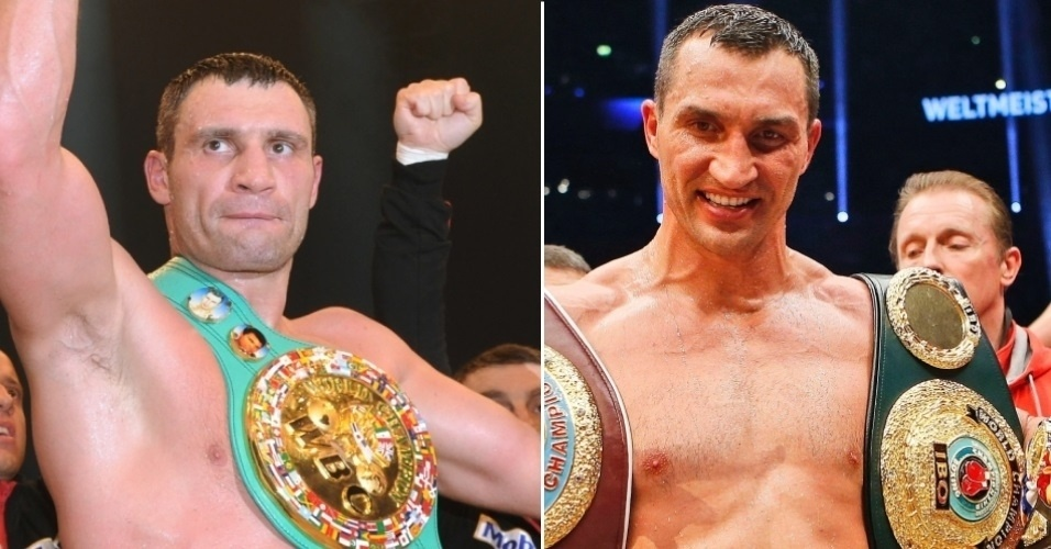 Com eles ninguém mexe, na imagem os pugilistas Wladimir Klitschko (d) e Vitali Klitschko