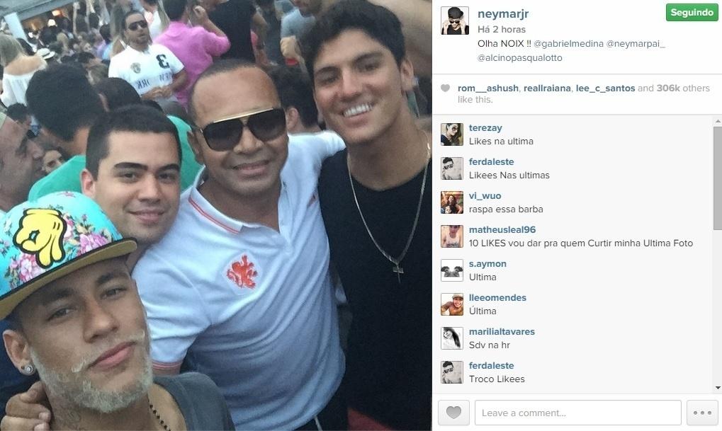 Gabriel Medina passa as férias em Florianópolis ao lado de Neymar e o pai do jogador do Barcelona