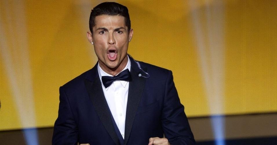 Cristiano Ronaldo no momento em que vence a Bola de Ouro