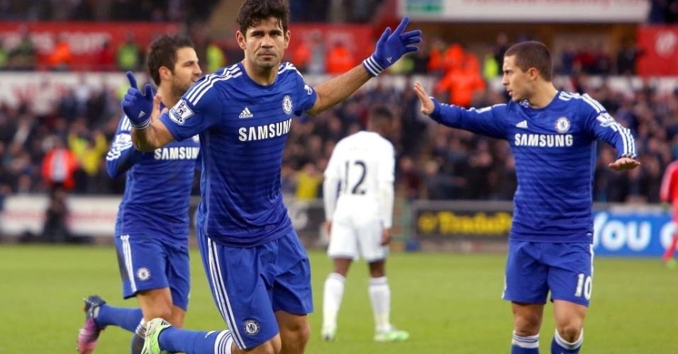 17.jan.2015 - Diego Costa amplia para o Chelsea e comemora, em partida contra o Swansea City neste sábado (17), pelo Campeonato Inglês
