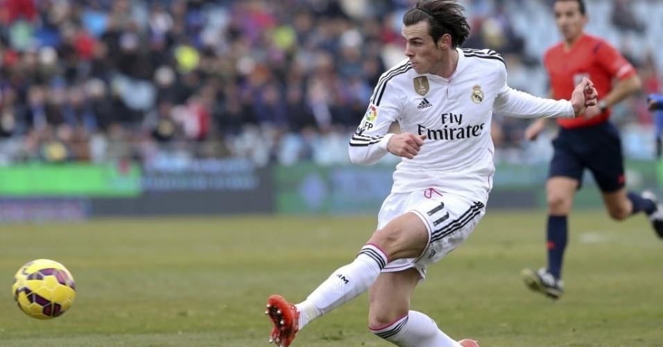 18.jan.2015 - Gareth Bale, do Real Madrid,  faz jogada durante partida contra o Getafe, pelo Campeonato Espanhol neste domingo (18)
