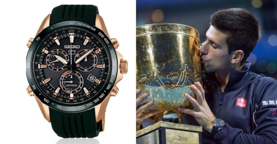 Novak Djokovic com o seu Seiko Astron GPS Solar com preço em torno de R$10 mil