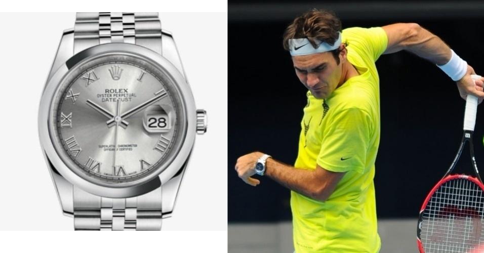 Roger Federer e seu Rolex Datejust, que custa em torno de R$23 mil