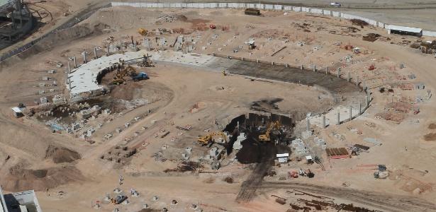 Obra do velódromo (foto de jan/2015) precisa avançar para testes olímpicos