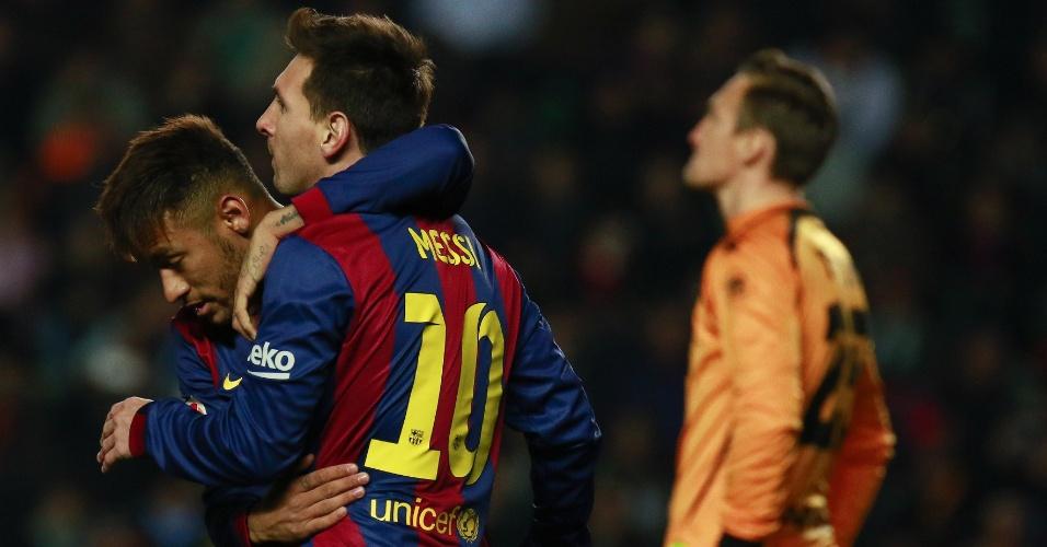 Neymar comemora gol pelo Barcelona contra o Elche pelo Campeonato Espanhol