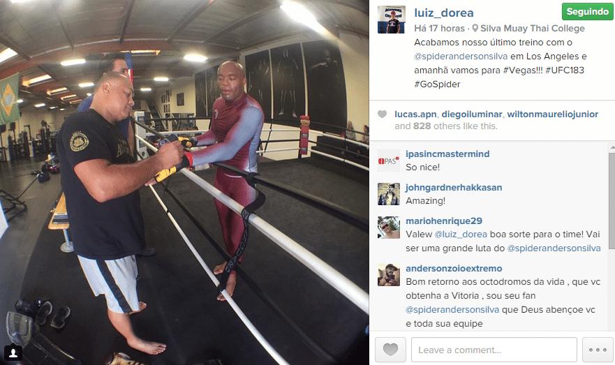 Anderson Silva encerra o último treino de sua preparação para enfrentar Nick Diaz, junto com o técnico Luiz Dórea, especialista em boxe