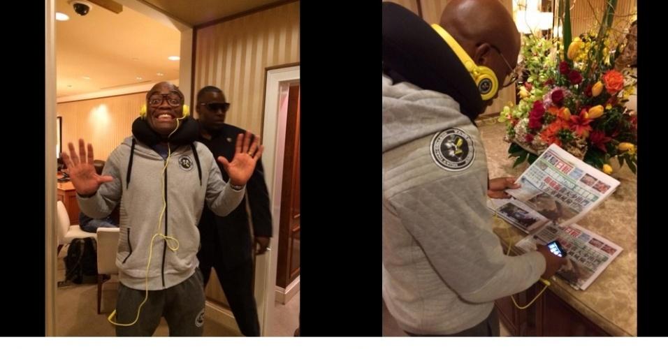 Anderson Silva chegou na madrugada de quarta-feira (noite de terça-feira nos EUA) a Las Vegas. O brasileiro também realizou um primeiro treino na cidade, de acordo com o técnico de boxe Luiz Dórea, para perder os últimos quilos e acertar os detalhes finais para encarar Nick Diaz no sábado, pelo UFC 183