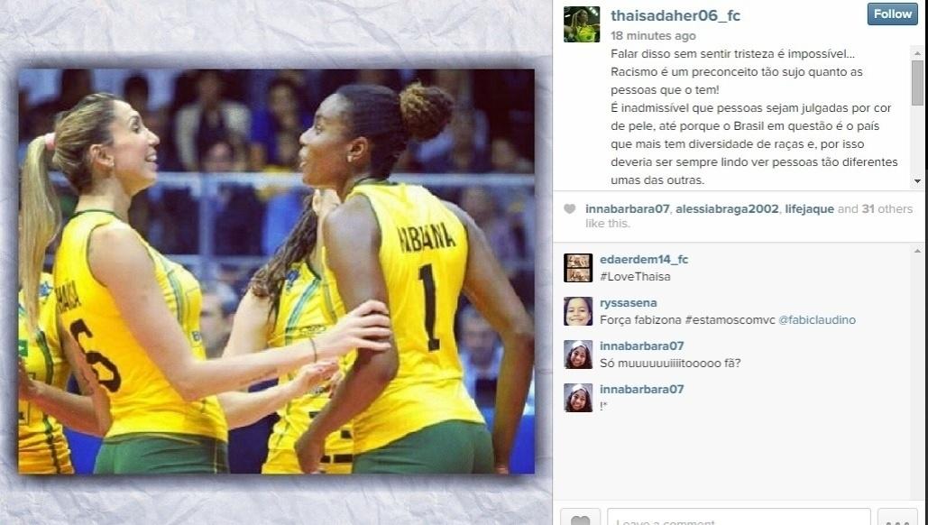 Companheira de Fabiana na Seleção e jogadora do Osasco, Thaísa também demonstrou indignação