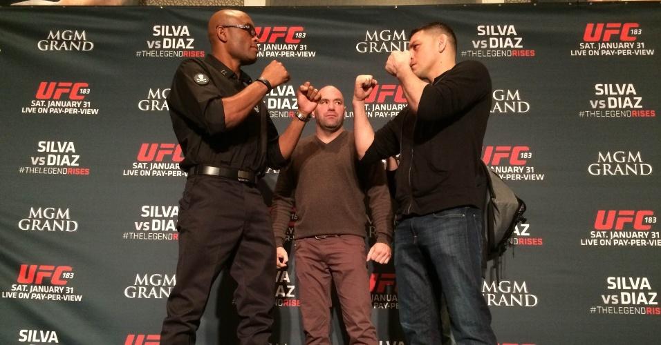Anderson Silva encara Nick Diaz em evento em Las Vegas