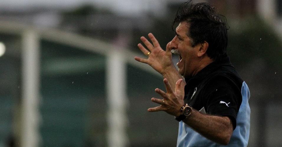Técnico René Simões comemora o gol da vitória do Botafogo sobre o Boavista