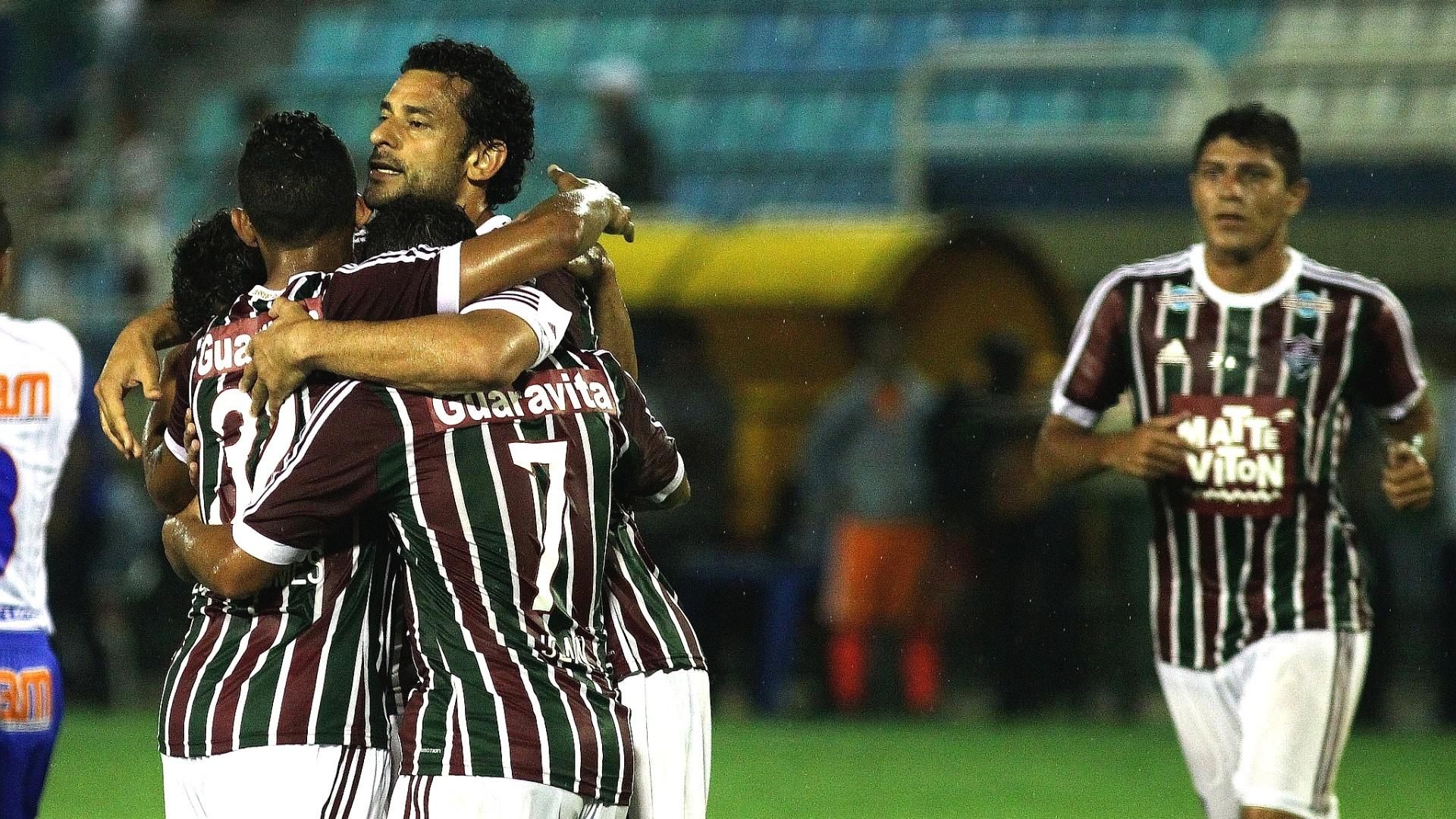 Fluminense comemora gol de Fred, o segundo da vitória sobre o Friburguense