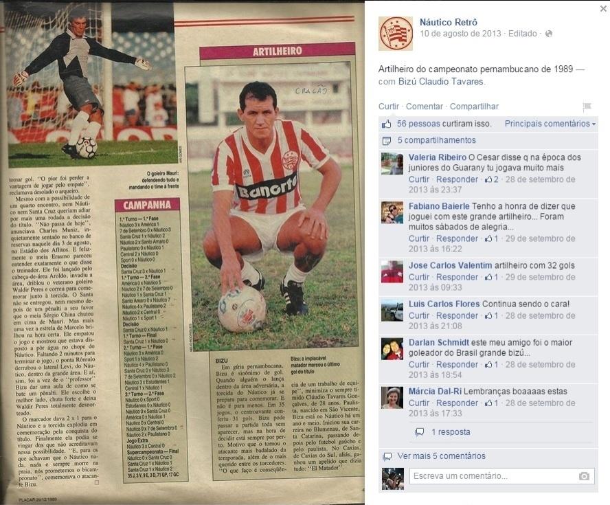 Bizu em jornal de 1989 como artilheiro do Campeonato Pernambucano