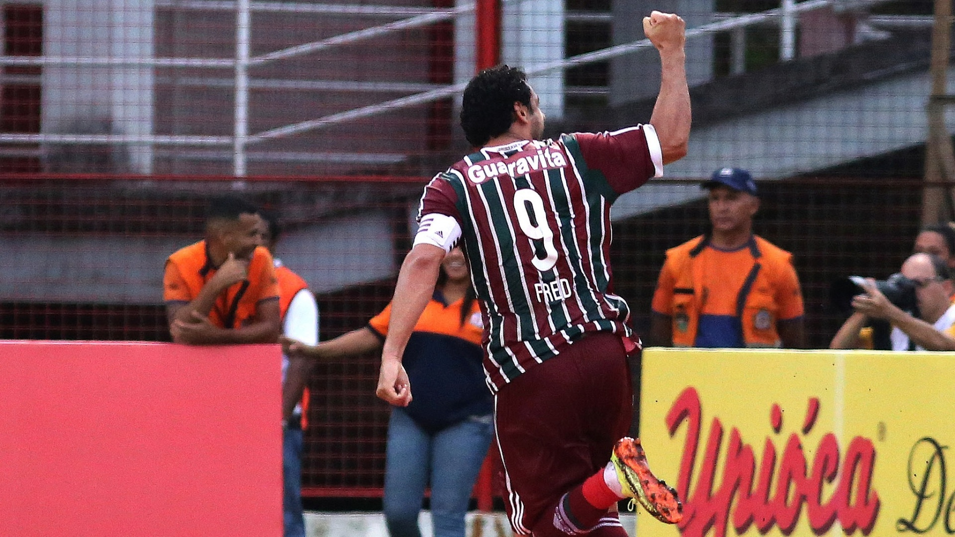 Fred comemora gol pelo Fluminense em goleada por 4 a 1 sobre o Nova Iguaçu, pelo Carioca