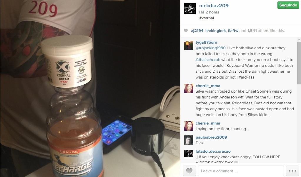 Nick Diaz posta foto com possível explicação para ter sido pedo no doping