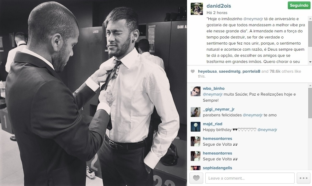 Daniel Alves chamar Neymar de irmão em mensagem de feliz aniversário ao companheiro de Barcelona