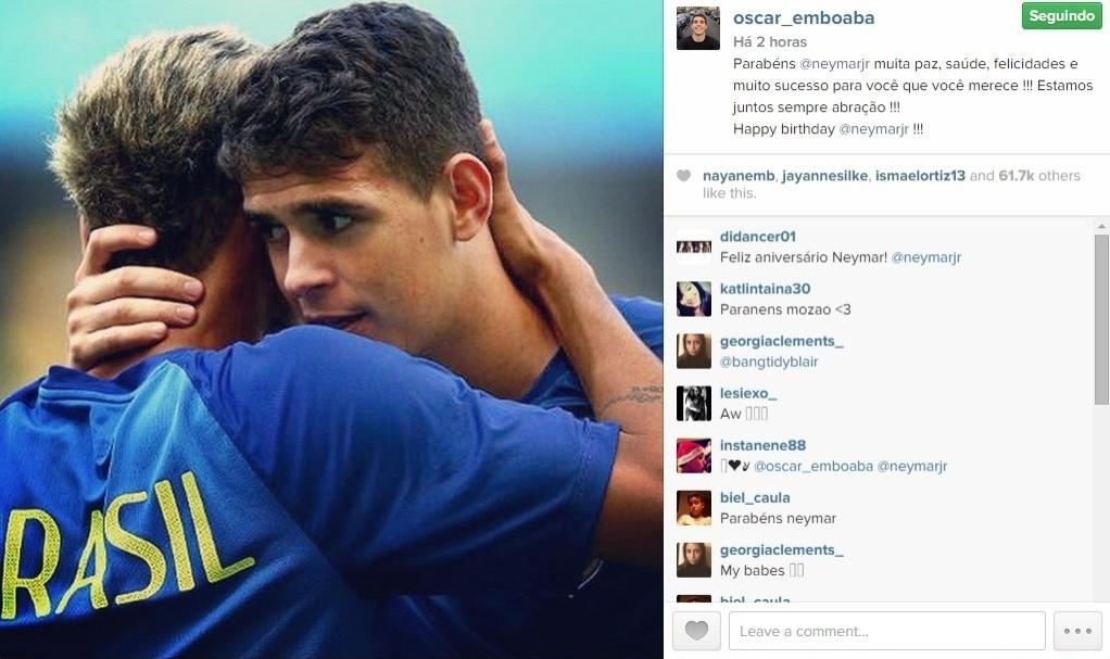 Oscar, do Chelsea, não esqueceu do aniversário do amigo Neymar