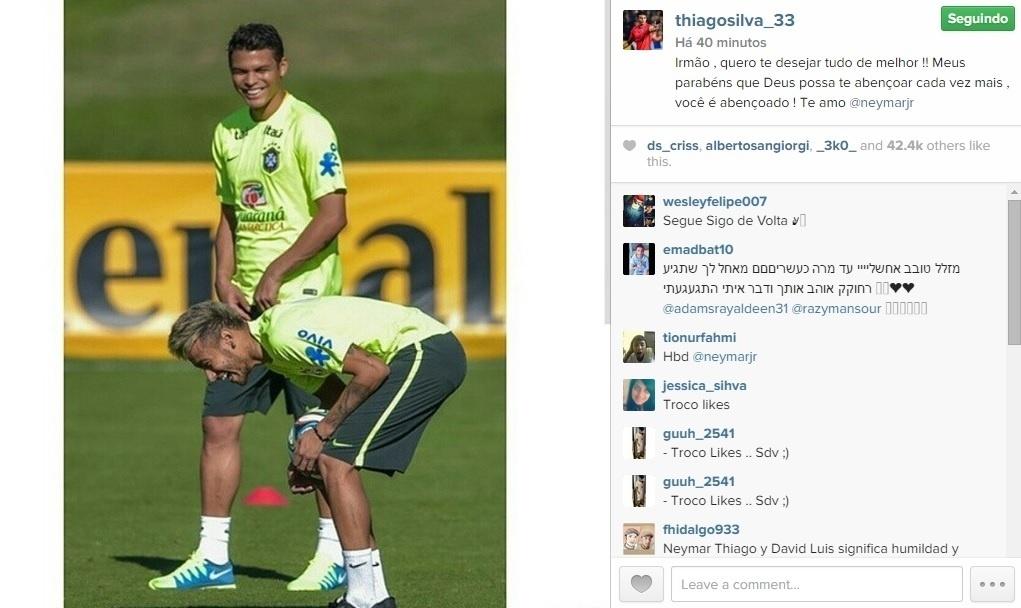 Thiago Silva chamou Neymar de irmão em sua mensagem de feliz aniversário ao jogador do Barcelona