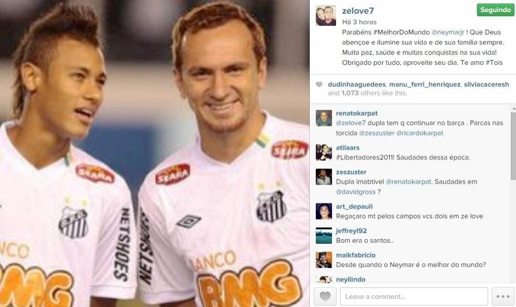 Zé Love postou uma foto antiga ao lado de Neymar e desejou parabéns ao jogador do Barcelona