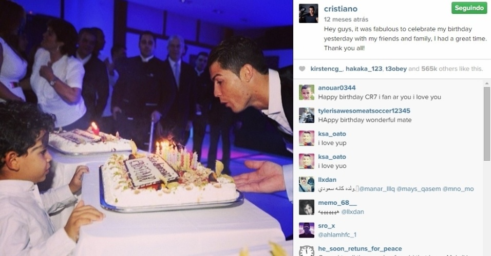 Cristiano Ronaldo com bolo de aniversário