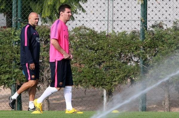Messi treina em dia de folga