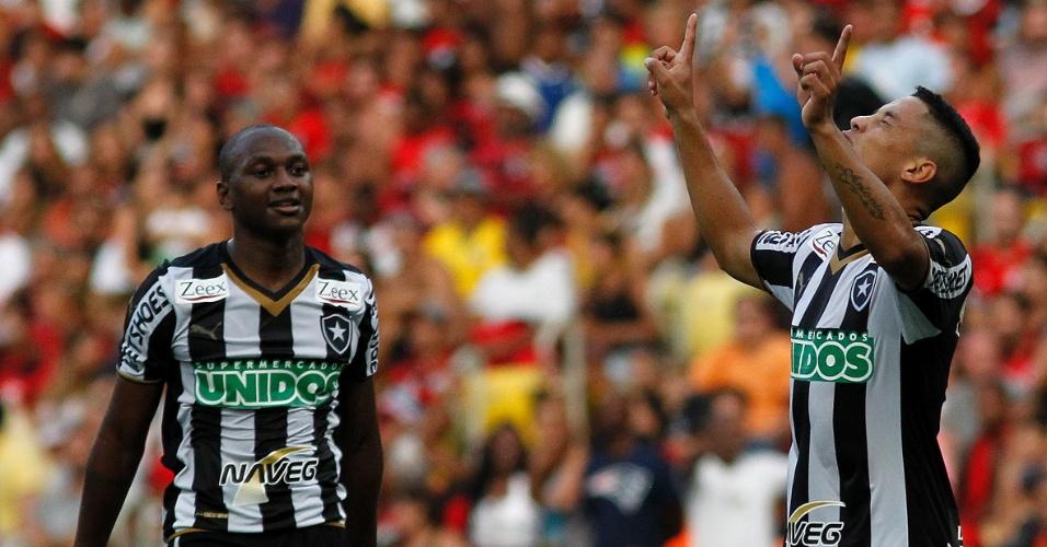 Tomas comemora gol do Botafogo, que deu a vitória sobre o Flamengo neste domingo