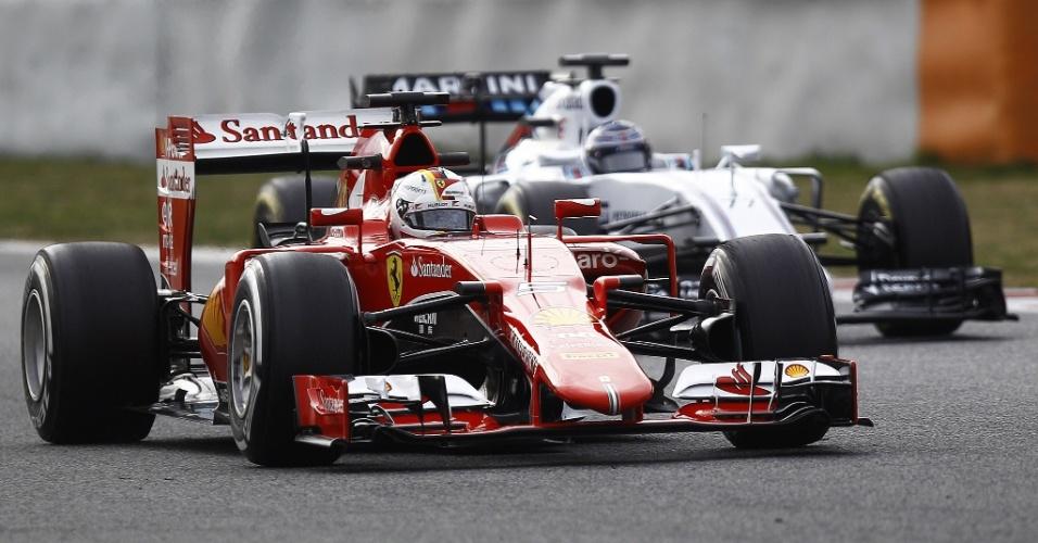 Vettel foi o segundo mais rápido no último dia da pré-temporada atrás de Bottas