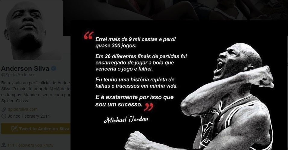 Anderson Silva posta frase de Michael Jordan