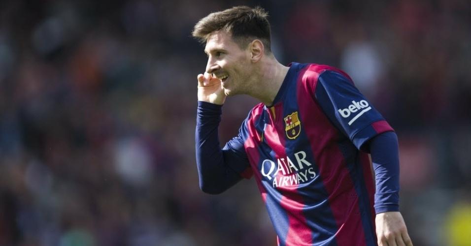 Messi comemora gol sobre o Rayo Vallecano pelo Espanhol