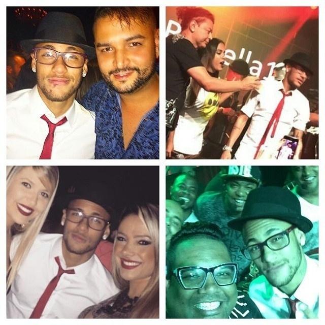 Convidados da festa de Rafaella não perderam a chance de tirar uma foto com Neymar