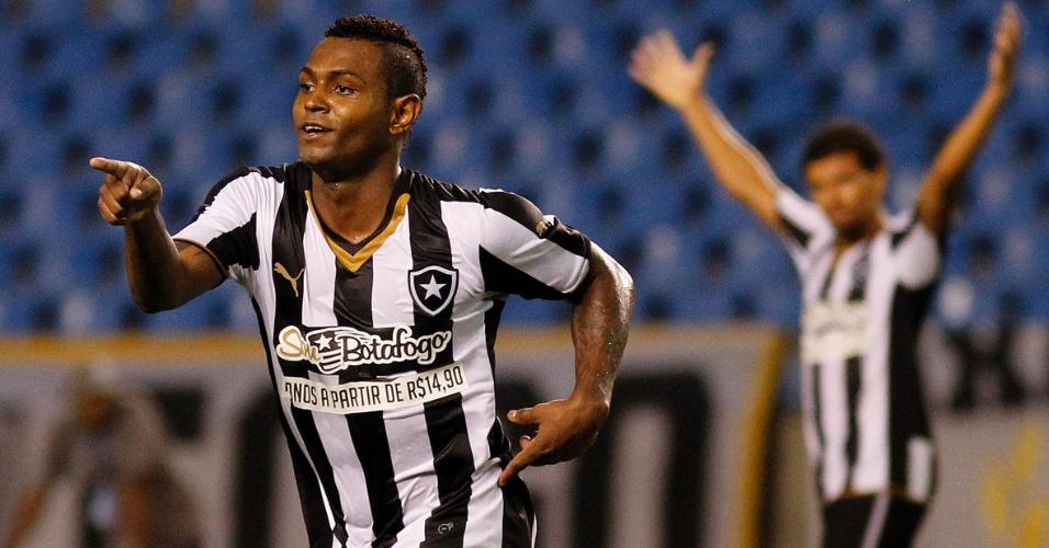 Jobson comemora gol pelo Botafogo diante do Tigres, no Engenhão