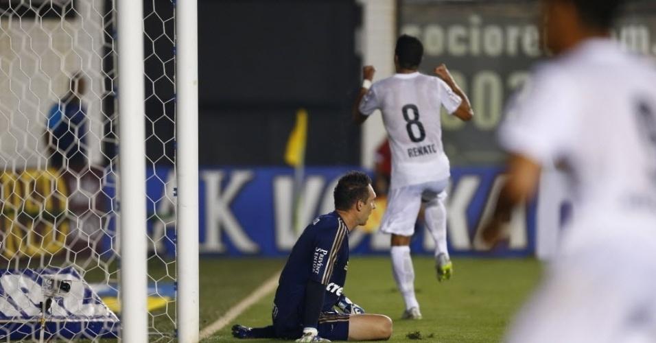 Renato comemora gol do Santos contra o Palmeiras pelo Paulistão