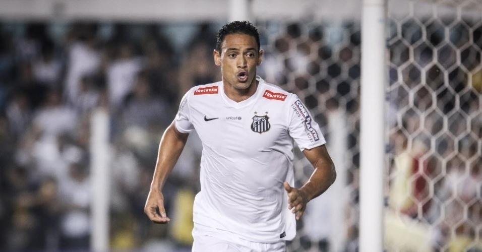 Ricardo Oliveira comemora gol pelo Santos contra o Palmeiras